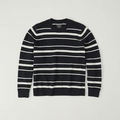 Abercrombie & Fitch Striped Crew Sweater (1.935 RUB) ❤ liked on Polyvore featuring men's fashion, men's clothing, men's sweaters, white with navy stripe, mens striped sweater, mens crew neck sweater, old navy mens sweaters, mens white sweater and mens crewneck sweaters