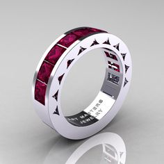 Mens Modern 14K White Gold Princess Red Garnet by artmasters, $1,599.00