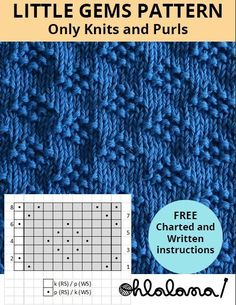 LITTLE GEMS stitch knitting pattern. Knits and purls. Written and charted instructions. LITTLE GEMS stitch knitting pattern. Knits and purls. Written and charted instructions. Baby Knitting Patterns, Knitting Stiches, Knitting Blogs, Knitting Charts, Easy Knitting, Knitting Designs, Knitting Projects, Crochet Stitches, Knitting Tutorials