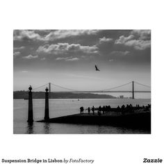 Shop Suspension Bridge in Lisbon Rectangular Sticker created by FotoFactory. Personalize it with photos & text or purchase as is! Bridge Card, Black And White Landscape, Suspension Bridge, Natural Beauty, Landscapes, Beach, Nature, Photos, Outdoor