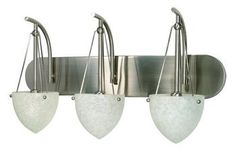 Nuvo 60/136 Three Light Vanity with Water Spot Glass, Brushed Nickel by Nuvo. $84.99. Brushed nickel two light vanity with water spot glass. (2) 60-Watt G16.5 candelabra base bulbs not included.