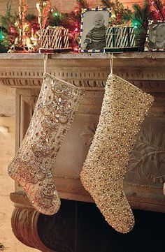 Hang your stockings by the chimney with flair. Kim Seybert's Gold Lame Beaded Stockings give this humble tradition a glamorous makeover – adorning champagne-hued polyester/silk with hundreds of hand-applied sequins, beads, and gemstones.