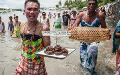 Men Wearing Women's Clothing at Baliw-baliw Festival in Olango