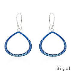 Blue Crystal and Sterling Earrings ~ www.DangleDangle.com