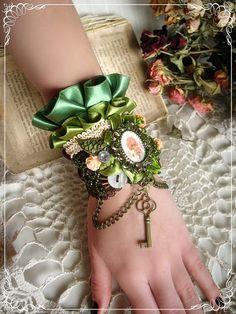 "OOAK Romantic Steampunk Bracelet,Cuff - Romantic cuff - Fairy-tale jewelry - Shabby Chic - ""Woodland Honey"" on Etsy, $49.00"