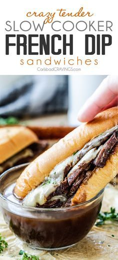 5 minute prep Crazy tender Slow Cooker French Dip Sandwiches seeping with spices are unbelievably delicious and make the easiest dinner or party food. You haven't had French Dip Sandwiches until you try these!