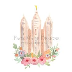 Watercolor Temples Salt Lake City Utah Lds temple Mormon temple Temple art Pace made designs  Temple square