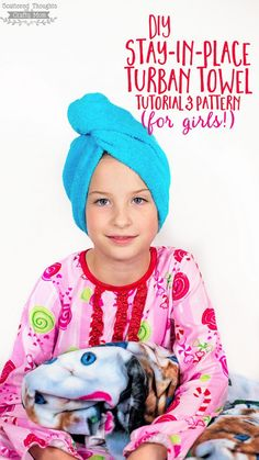 Easy to sew, Stay in Place Turban Towel Head Wrap for girls!