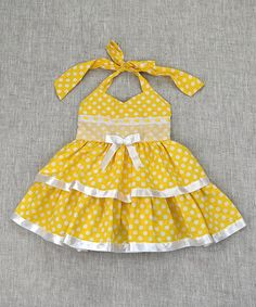 the Silly Sissy Yellow Polka Dot Halter Dress - Toddler & Girls Baby Dress Clothes, Bitty Baby Clothes, Toddler Girl Dresses, Little Girl Dresses, Doll Clothes, Toddler Girls, Girls Dresses, Fashion Kids, Baby Girl Fashion