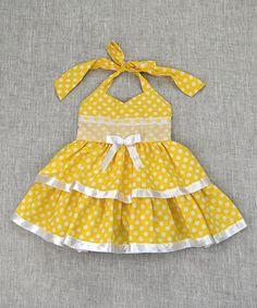 Yellow Polka Dot Halter Dress - Toddler & Girls