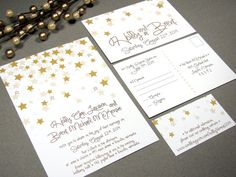 Falling Stars Wedding Invitation Set by RunkPock Designs : Modern Star Handwritten Script Invitation shown in shades of gold