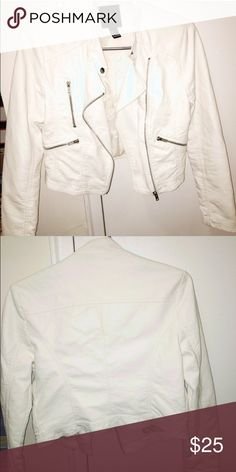 White Moto (Faux) Leather Jacket! Moto (Faux) Leather Jacket !! Worn TWICE !! In PERFECT Condition, No Stains or Marks.It's a US Size 0/XS. Price Is Negotiable But Lowballing Will Be Ignored!=) Forever 21 Jackets & Coats