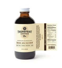 simple yet eye-catching Cold-Brew Coffee Label thumbprint coffee leaves a mark, just not on the earth. our mission is to partner with communities who value quality . Beverage Packaging, Coffee Packaging, Coffee Branding, Bottle Packaging, Food Packaging, Chocolate Packaging, Design Packaging, Medicine Packaging, Mockup Design
