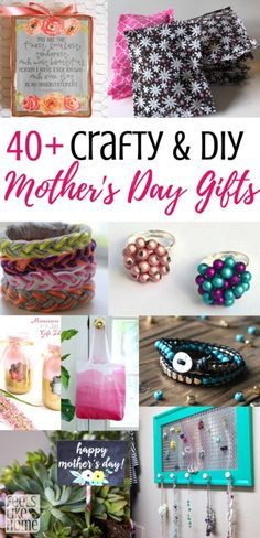 Crafty DIY sentimental and thoughtful Mother's Day gift ideas from daughter or adults or teens or tweens or kids for mom or grandma - Many unique and traditional ideas for homemade and handmade and often cheap, inexpensive, and frugal things to make. Includes jewelry and mason jar gifts. Cute, creative, simple, and easy. Many with pictures, photos, and flowers. https://feelslikehomeblog.com/2018/04/40-easy-handmade-diy-mothers-day-gifts/