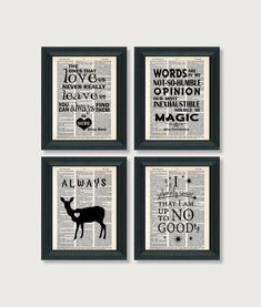 Harry Potter Gift Pack - Four Harry Potter Quotes - Dictionary Art Prints - Value Priced Gift for Harry Potter Fans - Edit Listing - Etsy Harry Potter Socks, Harry Potter Room, Harry Potter Gifts, Harry Potter Quotes, Dictionary Art, Dobby, Antique Books, Decoration, Hogwarts