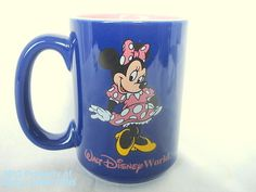 Disney Coffee Mug Minnie Mouse Walt Disney World Thailand Blue Pink 13 oz Large by HerbsCraftsGifts