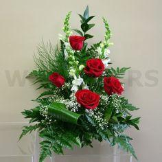 red and white floral arrangementsbest white flowers for arrangements | Red and White Sympathy Flower Arrangement