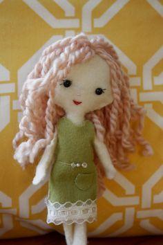 Plush Felt Pocket Pixie Girl Doll  Emilyn by MinandMoots on Etsy, $17.50
