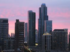 Sun setting over the South Loop, Chicago