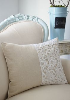Vintage French cutwork embroidery pillow w/white floral and scalloped design-$58