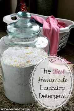This is the BEST Homemade Laundry Detergent recipe. It is so easy to make. Plus my family pays only $20 per year.