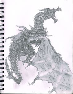 Alduin from Skyrim. I have not played this game but a friend of mine had a statue of him and this is my sketch of him!  (This is cool. It's pretty. And amazing.  It's pretty amazing. :3)