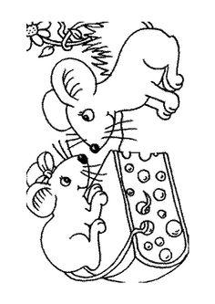 Ces deux souris ont choisi du fromage pour le diner, à colorier
