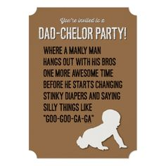 Dad Chelor Dadchelor Party Invitation Manly Man Card Diaper Invitations