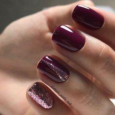 Burgundy Nail Art with Glitter Glitter Nail Polish Christmas Style Gel Polish - http: // robi . - Burgundy Nail Art with Glitter Glitter Nail Polish Christmas Style Gel Polish – robinhood-toptren - Burgundy Nail Designs, Burgundy Nail Art, Gel Nail Designs, Purple Nails, Red Nails, Nails Design, Fall Nails, Matte Nails, Burgundy Wine