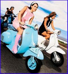 Mods on Vespas . 1960s fashion. Vintage scooters