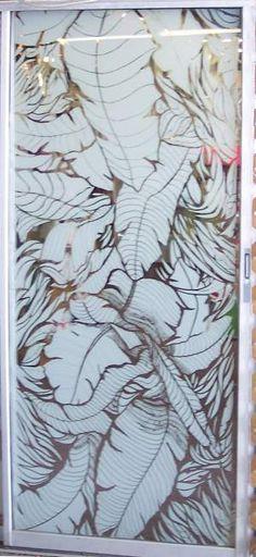 ** SCREEN DOOR MAGNETS **Etched Glass Tropical Leaves Sliding Glass Door Film