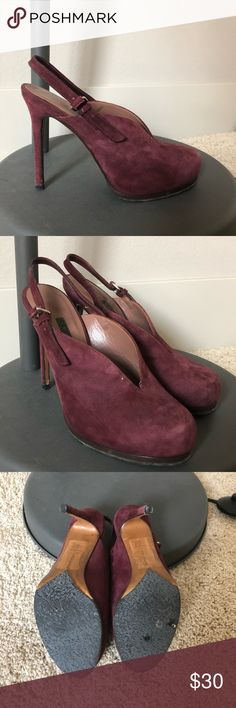 Theory suede sling back pumps Plum/eggplant suede, sling back pumps Theory Shoes Heels