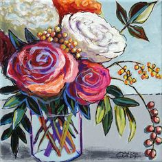 """""""A Tumbler of Comfort"""" by Ande Hall $75 Free Shipping  #flowerpainting #contemporaryfloralpainting #colorful #kitchenart #bathroomart  #bathroompainting"""