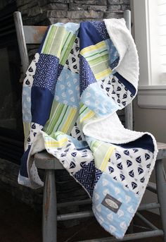 Baby Blanket  Patchwork Baby Quilt  by GiggleSixBabyBlanket, $85.00