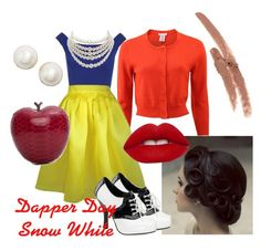 """Dapper Day Snow White"" by catatude on Polyvore featuring Oscar de la Renta, WearAll, Plakinger, Funtasma, Lime Crime, Kate Spade, Christian Dior, Elisabeth Weinstock and NYX"