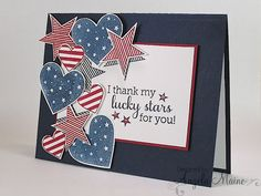PaTRioTiC CaRD oF JuLY, Memorial Day or Veteran's Day ____red, white & blue . spray of die stamped hearts & stars w/ stripes & stars Masculine Birthday Cards, Masculine Cards, Scrapbooking, Scrapbook Cards, Military Cards, Military Service, Military Quotes, Star Cards, Fathers Day Cards