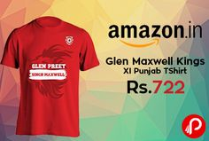 Amazon presents Glen Maxwell Kings XI Punjab TShirt at Rs.722. Roar like these lions from Punjab who wear their heart on their sleeves. Show the passion you feel by flaunting the authentic merchandise of Kings XI Punjab. Chest and Back Screen print with The famous Maxwell Quote. Dry Promptly, DO Not Iron on Print, Do Not Bleach, Normal Machine Wash.  http://www.paisebachaoindia.com/glen-maxwell-kings-xi-punjab-tshirt-at-rs-722-amazon/