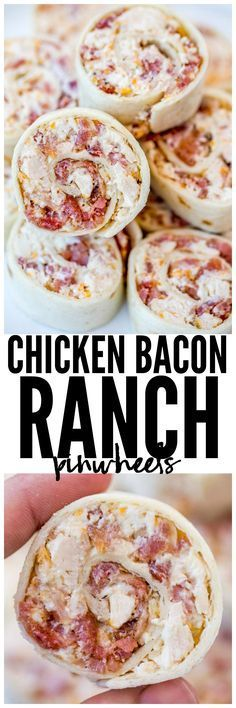 Bacon Ranch Pinwheels are and easy wrap your party guests will love with chicken, bacon, cheese and ranch seasoning. They're delicious hot and cold! Think Food, Love Food, Appetizers For Party, Appetizer Recipes, Bacon Appetizers, Chicken Appetizers, Appetizer Ideas, Party Snacks, Party Food Entrees