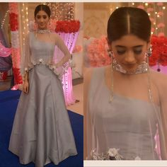 Nayra - Shivangi Joshi In Grey Lehenga Indian Wedding Outfits, Indian Outfits, Ethnic Outfits, Indian Designer Outfits, Designer Dresses, Stylish Dresses, Fashion Dresses, Women's Fashion, Latest Fashion
