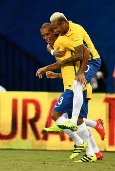 #WCQ2018 Brazil's Miranda celebrates with Neymar after scoring against Colombia during their Russia 2018 FIFA World Cup football qualifier match Brazil vs...