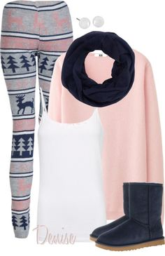 """Reindeer Leggings"" by deniselanders ❤ liked on Polyvore"