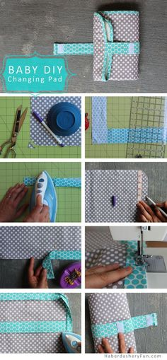 Sewing Projects For Baby DIY. On The Go Baby Changing Pad - New Baby in the house? Need a baby shower present? Make this On The Go Baby Changing Pad Baby Sewing Projects, Sewing For Kids, Sewing Tutorials, Sewing Crafts, Diy Projects, Sewing Ideas, Baby Set, Diy Tapis, Baby Changing Pad