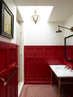 High gloss painted wainscoting + pretty tile - sarastorydesign.com