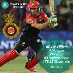 Our Player in the Spotlight for Royal Challengers Bangalore is AB de Villiers! This man can do no wrong and is the man with the Midas touch! His partnerships with Virat Kohli are better than the last and his knocks are scintillating! Ab De Villiers Photo, Tapas, Arnav And Khushi, Virat Kohli, Best Player, Premier League, Cricket, Spotlight, The Man