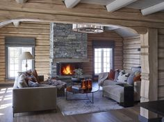 When I see a chalet space I'm just like 'Leave me here for the whole winter! Chalet Interior, Home Interior, Cabin Homes, Log Homes, Casa Top, Log Home Decorating, Decor Scandinavian, Cabin In The Woods, Cabin Interiors
