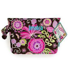 Personalized Diaper Bag Wristlet Tote Pink Purple Floral