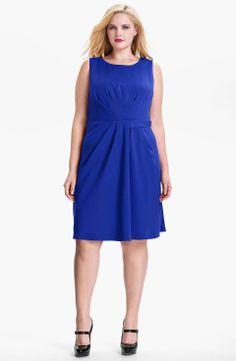 Donna Ricco Sleeveless Gathered Sheath Dress (Plus Size)   full figured & fabulous   womens plus size blue dress   womenswear   fashion   style   wantering http://www.wantering.com/womens-clothing-item/donna-ricco-sleeveless-gathered-sheath-dress-plus-size/abmNE/