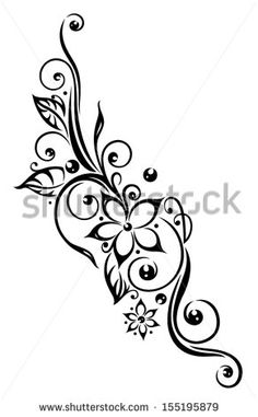 Black flowers illustration, tribal tattoo style.
