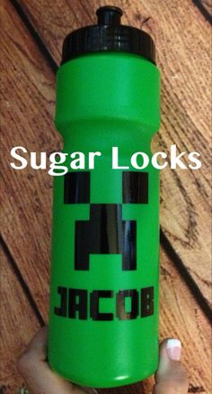 Minecraft Inspired Creeper Personalized 24oz water bottle Fast Ships in 24-72hours on Etsy, $6.99