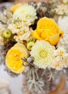floral, centerpieces, flowers, gerber daisies, rose, real, grey, lemon, yellow